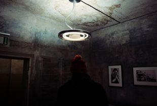 man and lamp