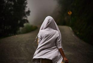 Hoodie and foggy road