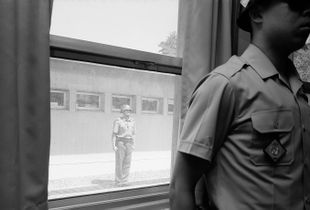 Two Soldiers Standing Inside and Outside in the JSA(The Joint Security Area), Gelatin Silver Print, 2016