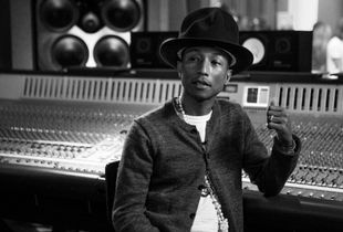 In the studio with Pharrell.