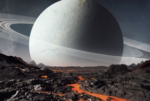 View from a volcanic moon