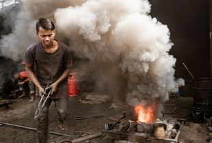 Dhaka, Bangladesh, ship factory. Living under the worst working conditions on earth.