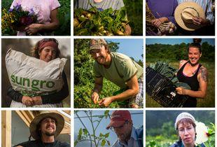 Organic farmers left to right: Cynthia Glasscoe, Kate Schumacher, Cheryl Ferguson and Ray Tuegel, Shiloh Avery, Isaac Oliver, Jennifer MAntler, Ben Nommay, Cameron Jones and Nicole Belasco.