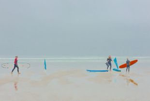 A spasm of light in foggy morning - surf lessons on Moledo beach, Portugal - V
