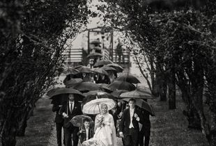 Together happy in the rain