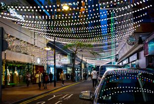 Shopping at night, the night scene
