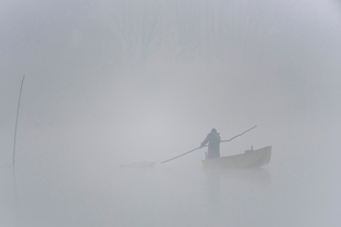 A fisher positions a trap at Borghetto, Lake Trasimeno, Umbria, Italy