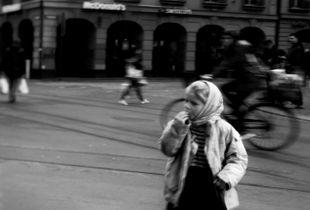 girl walking in the street