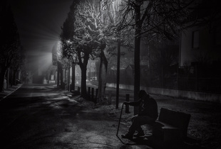 Alone in the City  : Old man in the mist