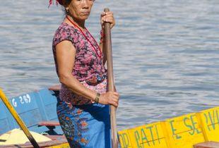 Rowing woman at Lake Phewa
