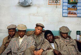 Loyiso Mayga, Wandise Ngcama, Lunga White, Luyanda Mzanti and Khungsile Mdolo after their initiation ceremony, Mthatha, 2008. Courtesy of Stevenson Gallery, Capetown/Johannesburg and Yossi Milo, New York.