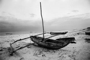 Ngalawa resting in the beach south of Mombasa, Kenya