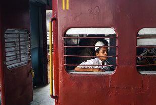 A boy in train