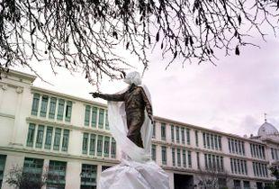 Statue under construction of Alexandros Panagoulis, resistance fighter against the fascist regime   © Eirini Vourloumis