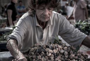 Lady working in Split Green Market
