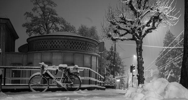 Fribourg ville suisse sous la neige 1er janvier 2021