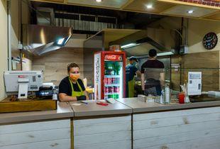 Inside a fast food.