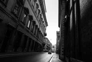 Morning shadows on the streets of Rome