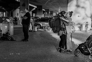 Reunion Outside the Train Station, with Saxaphone Accompaniment