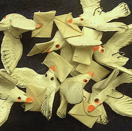 """flight of Mexican carrier pigeon ornaments"" (DETAIL)"