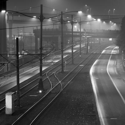 foggy train tracks PDX