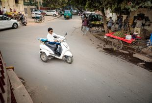 Guddu on his way to work