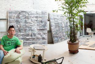 Beijing, Li Qiang in his studio