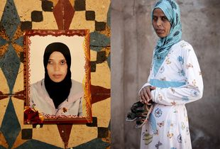 © Joelle Gueguen - Loubna at the age of 20 years - photograph on the left. Fatiha Hadad now, single mother of 32 years old - photograph on the right- Fatiha has raised her son Mohamed 2 years old on her own since he was born. Only one her sisters knows Mohammed is hers,she cumulates various jobs to make ends meet and earns the equivalent of 140euros/month. Marrakech Daoudiat district - June 2013