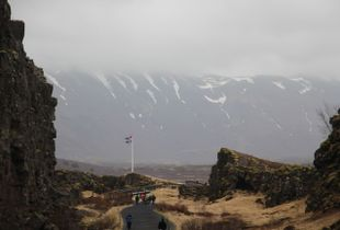 Icelandic Flag between the montains