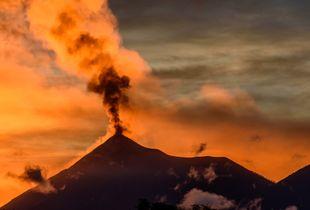 Golden sunset volcanic eruption