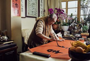 Han Wen in his studio