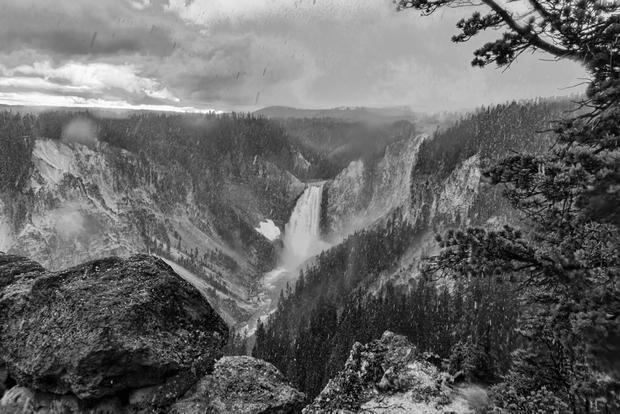 Yellowstone Falls in Snow