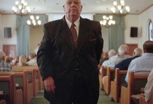 Evangelical preacher before the service. Bristol, FL