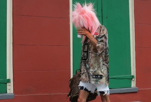 MAN IN THE PINK HAIR
