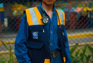 A miners study in yellow and blue