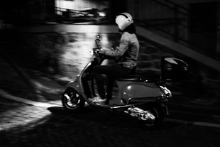 Biker near Monmartre during the attack at Bataclan.