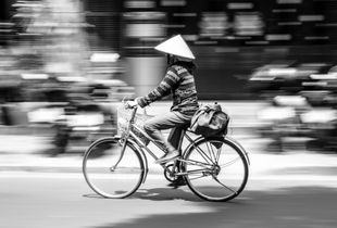 Panning on two wheels 1 (B&W)
