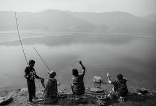 Fishing in Pokhara, Nepal