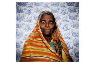 Indian Lady on a Classic Blue Paperwall