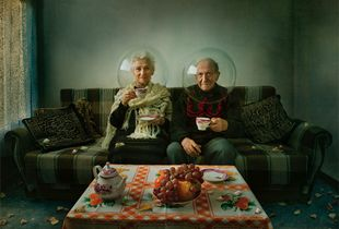 """""""Elegy of Autumn"""" -  a melody of autumn - a story about elderly couple living together all Life, each in his personal world, each with his own secrets. It's a story of people who live modest life, but with dignity. It's a story that has both — sadness and smile... In this artwork the spheres serve as metaphors for dissociation from the outside world and even from each other.  © Dina Bova"""