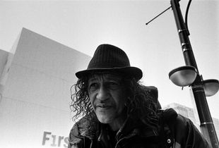 Man Outside the Salvation Army hostel, Hamilton, Ontario