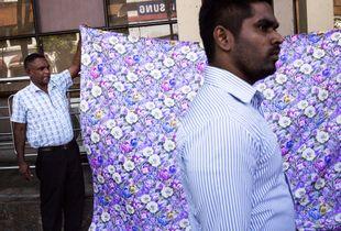 Fabric salesman in Kandy, Sri Lanka