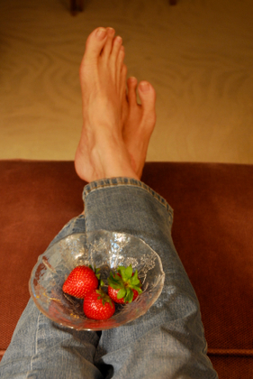 self-portrait with strawberries