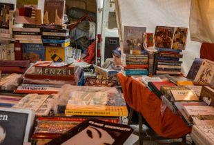 Paris flea market bookseller.