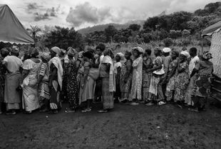 People waiting to have their vital signs taken.  Agou, Togo.  Saturday, July 23, 2016.
