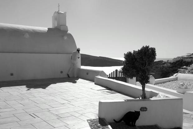 Man behind a church and black cat.