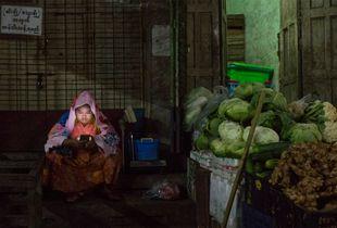 Lady on a Mobile, Yangon, Myanmar