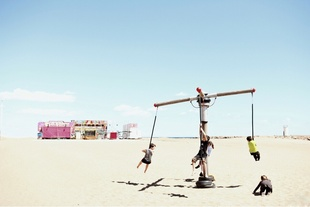 Children carrousel on the beach