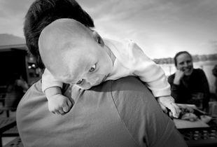 baby at outdoor restaurant