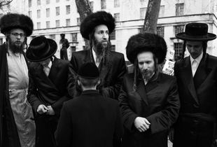 London Orthodox Jews at a protest outside Downing Street. London, UK.